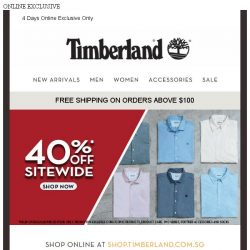 [Timberland]  Father's Day Special! 40%OFF SITEWIDE.