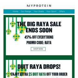 [MyProtein] Duit Raya Drops Today! 