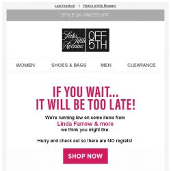 [Saks OFF 5th] LIMITED-QUANTITY styles from Linda Farrow & more...