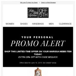 [Saks OFF 5th] Savings alert for your Marissa Webb item: Extra 25% Off With Code Bequick!