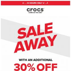 [Crocs Singapore] 24-HOUR Flash Sale! Extra 30% OFF just for you!