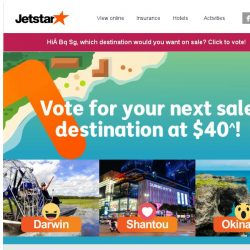 [Jetstar] Bq Sg, do you want Okinawa, Shantou or Darwin to go on sale next?