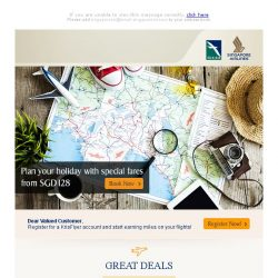 [Singapore Airlines] Escape to your next getaway from SGD128