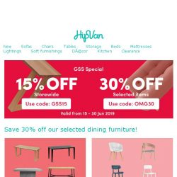 [HipVan] Revamp your dining room with our GSS Sale!
