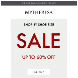 [mytheresa] Sale: shop by shoe size + take an extra 10% off on selected items