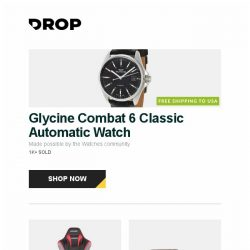 [Massdrop] Glycine Combat 6 Classic Automatic Watch, AKRacing Max / Pro Big & Tall Gaming Chairs, BlackVue DR900S 2-Channel 4K Dash Cam and more...