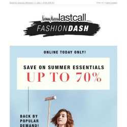 [Last Call] FASHION DASH: up to 70% off summer essentials