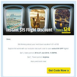 [cheaptickets.sg] ⚡️ 72 HOURS SALE ⚡️ Get extra $15 instant flight discount!