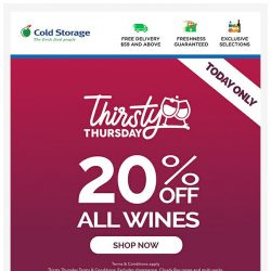 [Cold Storage] (24 Hours Only) 20% OFF All Wines 