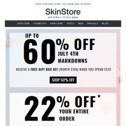 [SkinStore] Up to 60% Off + Free $108 Gift!