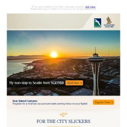 [Singapore Airlines] Fly non-stop to Seattle from SGD988