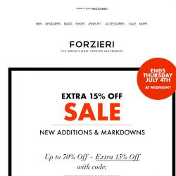 [Forzieri] Final hours! Extra 15% off SALE