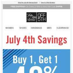 [Saks OFF 5th] FINAL HOURS! Buy 1, get 1 40% off: summer-perfect dresses & accessories