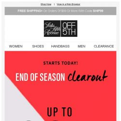 [Saks OFF 5th] Up to 80% OFF clearance starts today