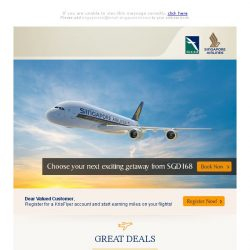 [Singapore Airlines] Treat yourself to a getaway from SGD168