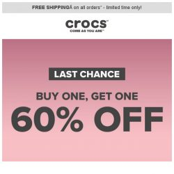 [Crocs Singapore] HURRY⏰ Last Chance to Buy 1, Get 1 60% Off❗️
