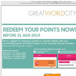 [Great World City]  Redeem Expiring Points & August Specials @ Great World City!