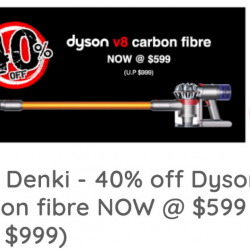 Best Denki: Save $400 on Dyson V8 Carbon Fibre Cord-Free Vacuum Cleaner!