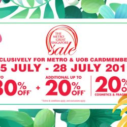 Metro: The Metro Great Singapore Sale Is Back with Up to 80% OFF + Additional Up to 20% OFF + 20% OFF Cosmetics & Fragrances!