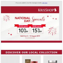[Singapore Airlines] Enjoy up to 15% off with KrisShop's National Day Specials