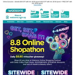 [Watsons] 3 DAYS ONLY 🔥 8.8 Shopathon sitewide $58 OFF!