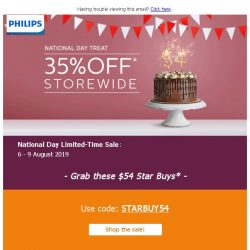 [PHILIPS] : Storewide 35% off + $54 deals this National Day*!