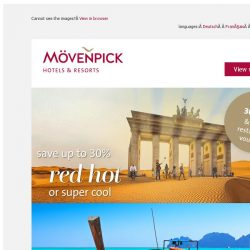 [Mövenpick Hotels & Resorts] ☀ Don't miss the Summer offer: Save up to 30%!