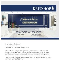 [Singapore Airlines] Discover the new KrisShop.com with 20% off
