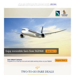 [Singapore Airlines] Enjoy irresistible fares from SGD168 ✈