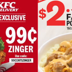 KFC: Enjoy a Zinger Burger for Only $0.99 & a Famous Potato Bowl for Only $2.50!