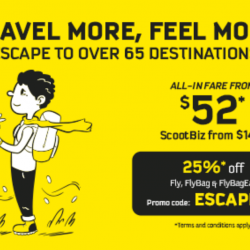 Scoot: Escape to Over 65 Destinations with 25% OFF Fares!
