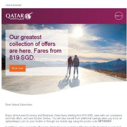 [Qatar] Our greatest collection of offers are here. Fares starting from 819 SGD