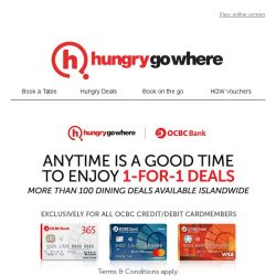 [HungryGoWhere] OCBC Exclusive: 1-for-1 deals to double the deliciousness