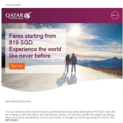 [Qatar] 4 days left. Enjoy our greatest collection of offers. Fares from only 819 SGD
