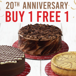 Secret Recipe: 20th Anniversary Offer - Buy 1 Get 1 FREE Selected Whole Cakes!
