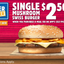 Burger King: Order a Meal via BK App's Self-Pickup & Add On a Single Mushroom Swiss Burger for Only $2.50 (UP $4.90)!