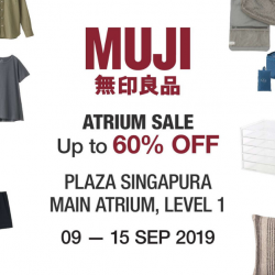 MUJI: Atrium Sale with Up to 60% OFF Garment & Household Items at Plaza Singapura!