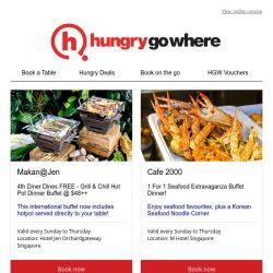 [HungryGoWhere] , save more this October: 1-for-1 buffets and more dining disounts