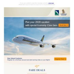 [Singapore Airlines] Plan your 2020 vacation with special Economy Class fares
