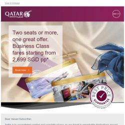 [Qatar] Two seats or more, one great offer. Business Class fares from 2,699 SGD pp*