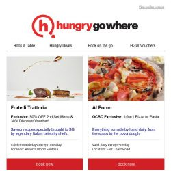 [HungryGoWhere] Your favourite Italian restaurants: Now at 1-for-1 deals, and more!