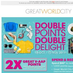 [Great World City]  Double Points Double Delight at Great World City (18 Oct - 10 Nov 2019)