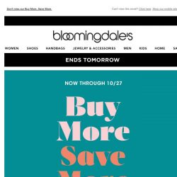 [Bloomingdales] Ends tomorrow! Take up to 30% off
