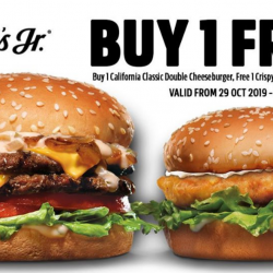 Carl Jr's: Buy 1 California Classic Double Cheeseburger Get Free 1 Crispy Chicken Sandwich!