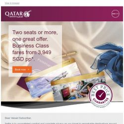 [Qatar] Two seats or more, one great offer. Business Class fares from 3,949 SGD pp*