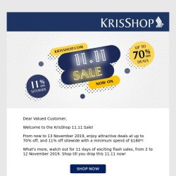 [Singapore Airlines] Enjoy Deals at up to 70% off at KrisShop.com this 11.11