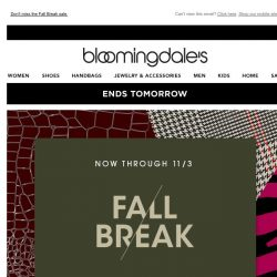 [Bloomingdales] Ends tomorrow! Save 20-40% on need-now fall styles
