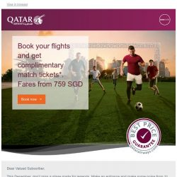 [Qatar] See the world's top football teams in Qatar. Fares starting from 759 SGD