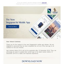[Singapore Airlines] The New SingaporeAir mobile app is now available in all markets