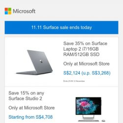 [Microsoft Store] 11.11 Surface sale ends today. Last chance